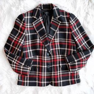 Talbots Plaid Wool Blend Blazer C0792